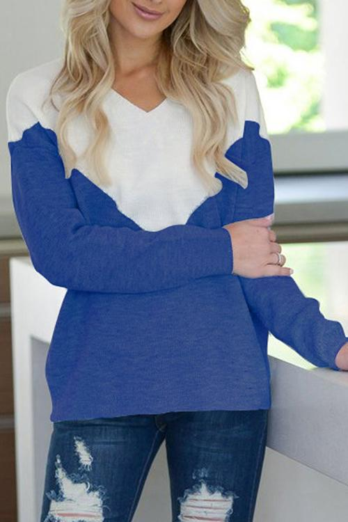 Allovely V-Neck Color Matching Sweater
