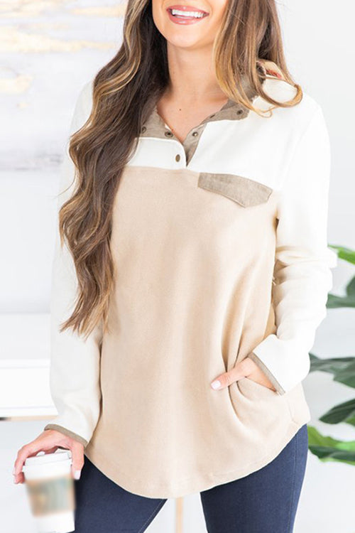 Allovely Contrast Stitching Headband Sweatshirt