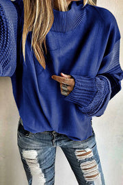 Allovely High Collar Contrast Sleeve Sweater
