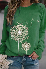 Allovely Dandelion Printed Round Neck Shirt