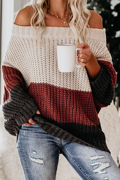 Allovely Off Shoulder Contrast Sweater