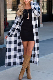 Allovely Christmas Plaid Long Cardigan