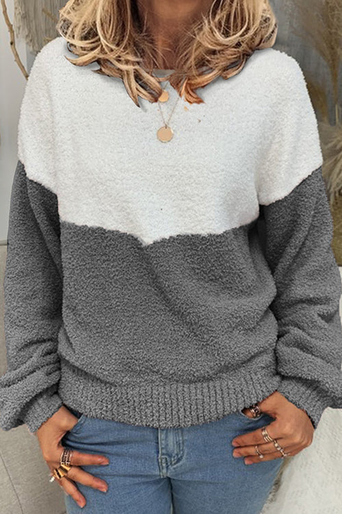 Allovely Contrast Loose Plush Sweater