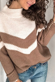 Allovely V-Shaped Stripe Stitching Sweater