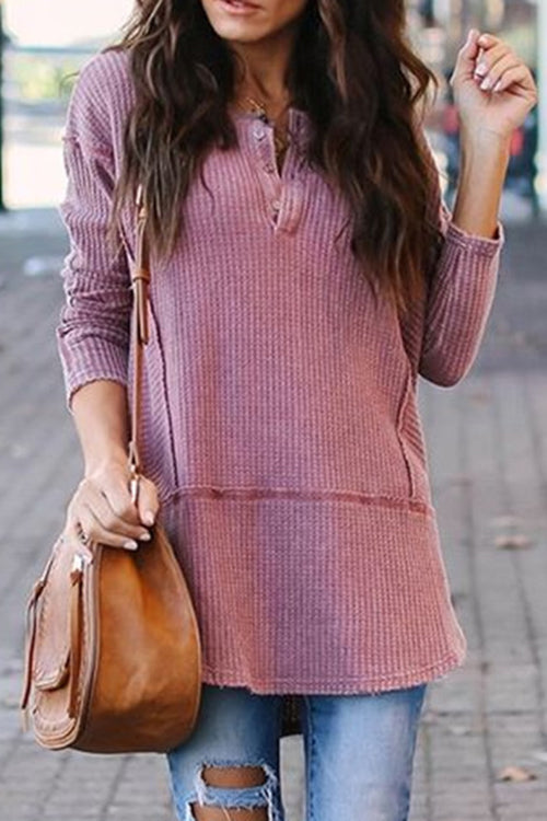 Allovely Buttoned Waffle T-Shirt