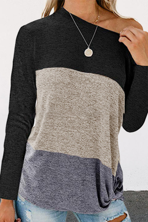 Allovely Loose Colored Twist Knit T-Shirt