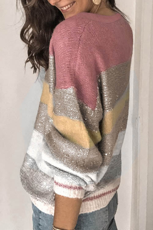 Allovely Striped Gradient Sequin Sweater
