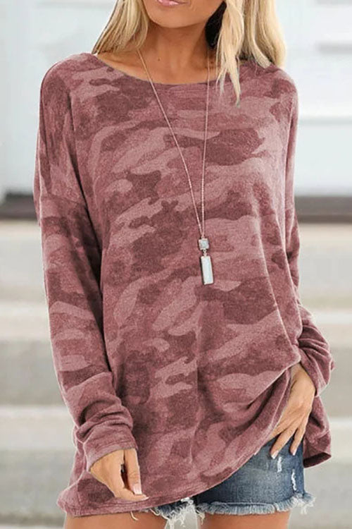 Allovely Camouflage Round Neck T-Shirt