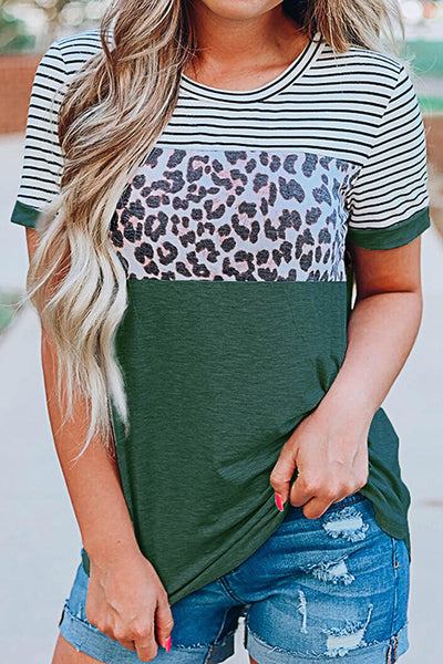Allovely Striped Leopard Print T-Shirt