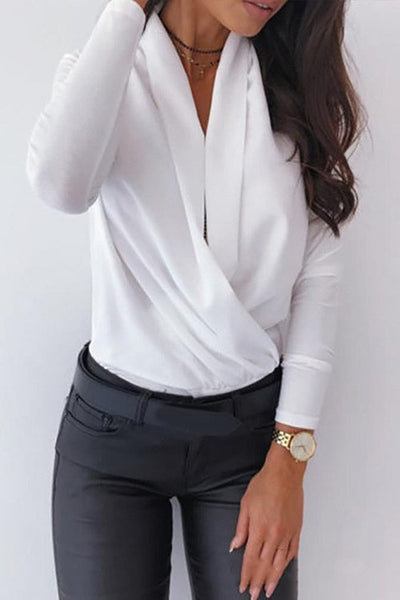 Allovely Solid V Neck Loose Cross Shirt