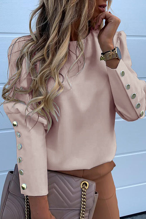 Allovely Solid Metal Buttoned Detail Casual Blouse