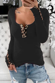 Allovely Leopard Stitching Buttons Shirt
