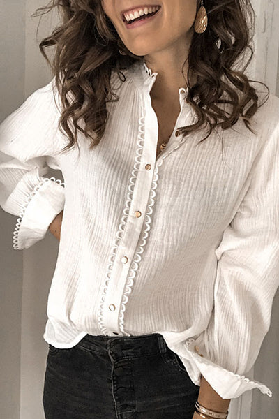 Allovely V Neck Soild Lace Blouse