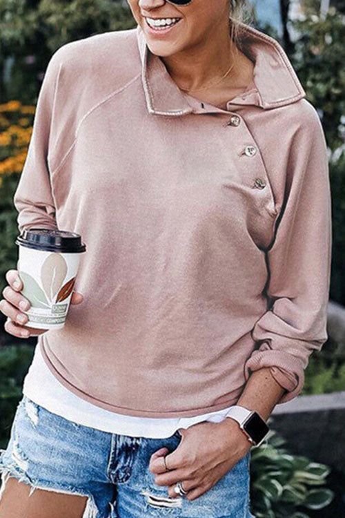 Allovely Oblique Collar Button Solid Color Sweatshirt