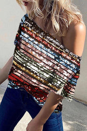 Allovely Oblique Shoulder Color Sequin Shirt