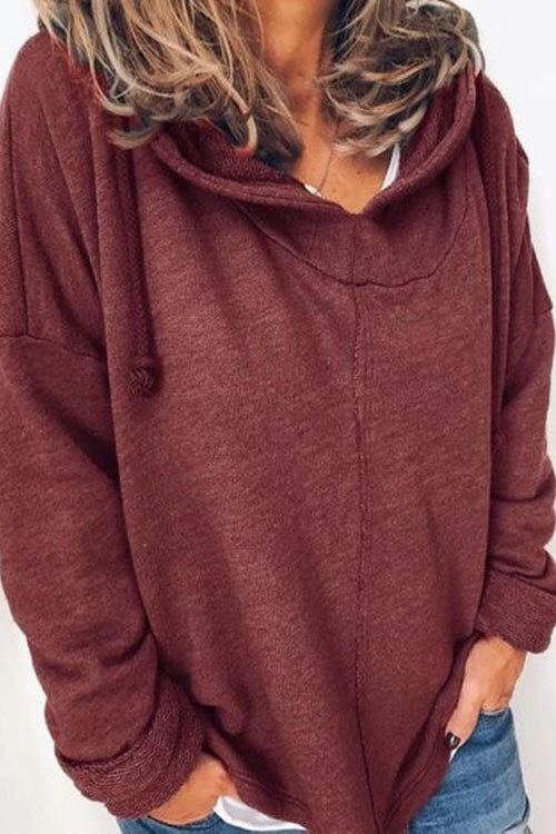 Allovely Loose Solid Color Hoodie