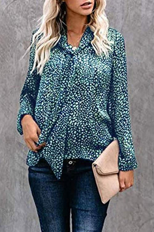 Allovely Leopard Print Tie Blouse
