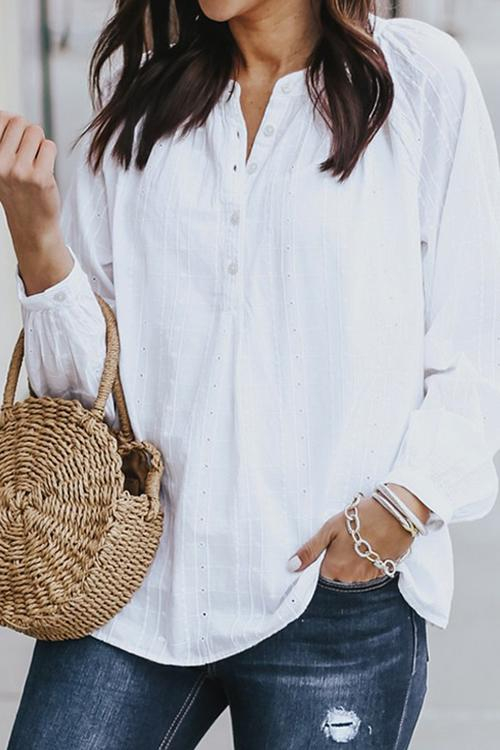 Allovely Buttoned Long Sleeve Blouse