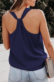 Allovely V Neck Solid Sleeveless Vest