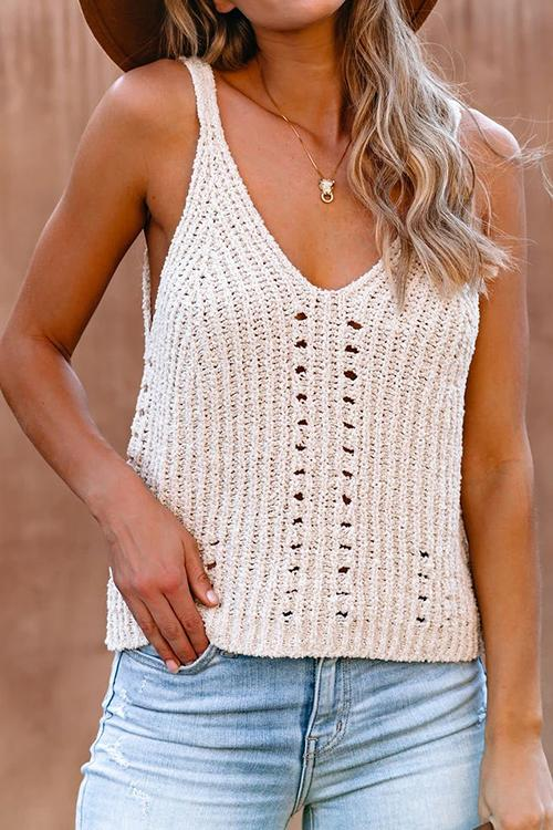Allovely V Neck Knit Hollow Camisole