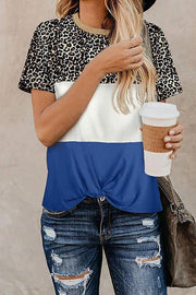 Allovely Leopard Print Contrast T-Shirt