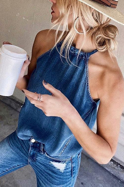 Allovely Halter Sleeveless Denim Tank