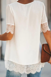 Allovely Lace Chiffon Stitching Blouse