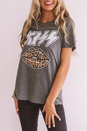 Allovely Lettered Leopard Lip T-shirt