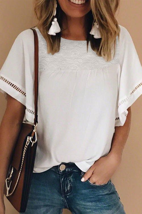 Allovely White Patchwork Lace Round Neck T-Shirt