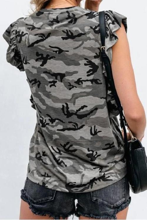 Allovely Camouflage Print Ruffled T-shirt