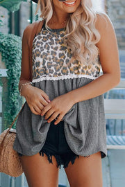 Allovely Leopard Stitching Printed Vest