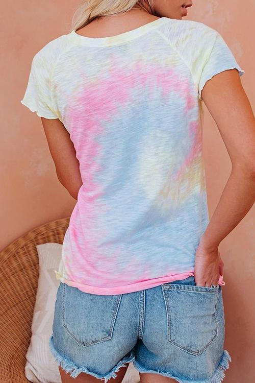 Allovely Tie-Dye Curled Short Sleeved T-Shirt