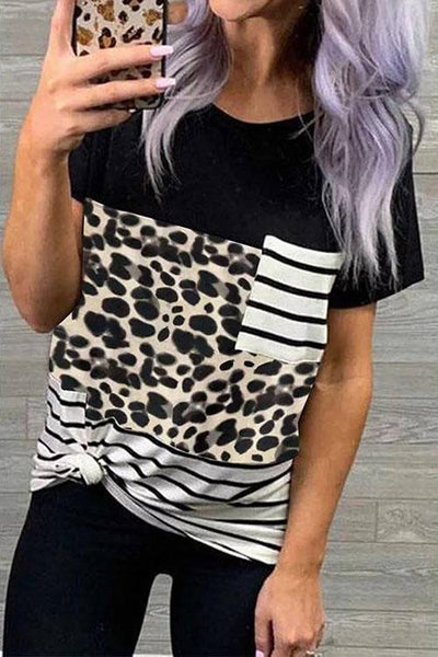 Allovely Leopard Print Pocket T-Shirt