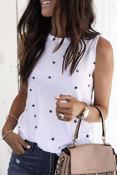 Allovely Round Neck Stars Print Sleeveless Casual T-shirt