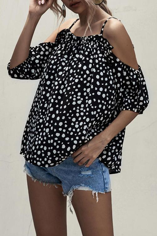 Allovely Strapless Off-The-Shoulder Ruffle Top