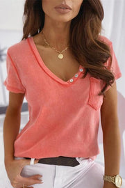 Allovely V-Neck Pocket Stitching T-Shirt