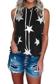 Allovely Star Print Hooded T-Shirt