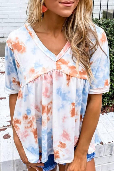 Allovely Loose Short Sleeve Printed Tie-Dye T-Shirt
