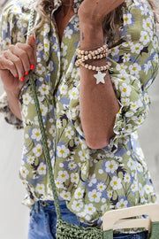 Allovely Mid Sleeve Floral Print Shirt