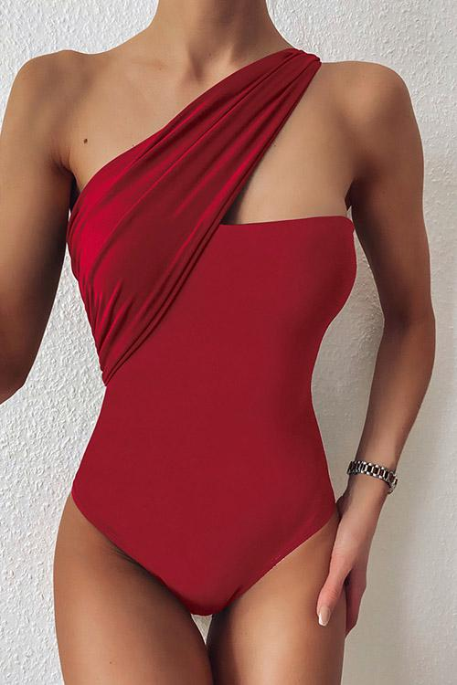 Allovely Solid Color One Shoulder One Piece