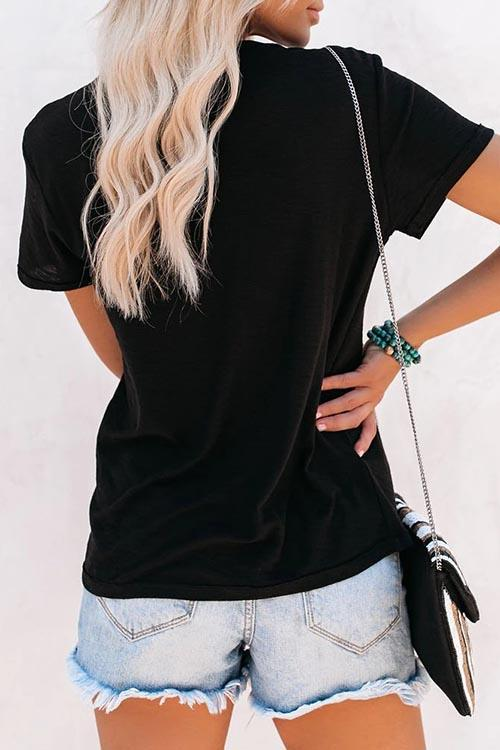 Allovely Solid Color Basic Short Sleeve T-Shirt