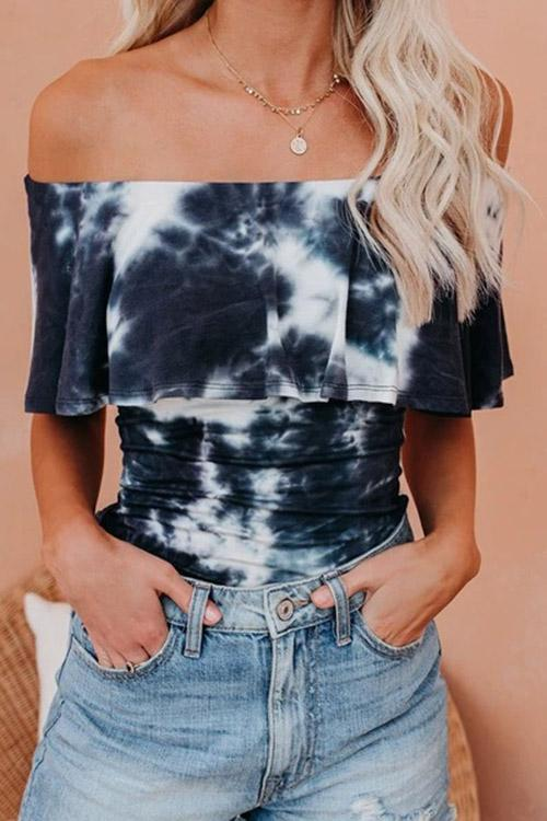 Allovely Off Shoulder Ruffled Tie Dye T Shirt