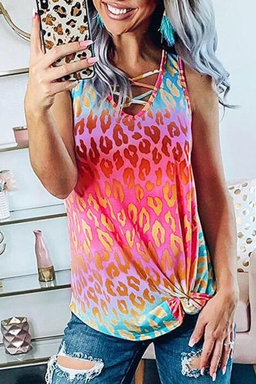Allovely Colorful Gradient Leopard Vest