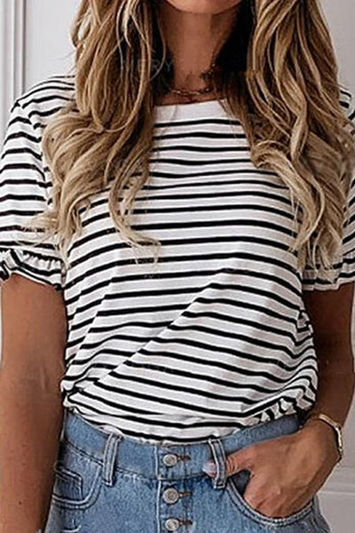 Allovely Striped Simple Round Neck T-Shirt