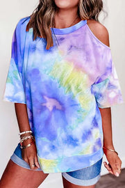 Allovely Cold Shoulder Tie-Dye Short Sleeve T-Shirt