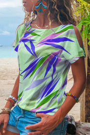 Allovely Cold Shoulder Color Leaf Print T-Shirt