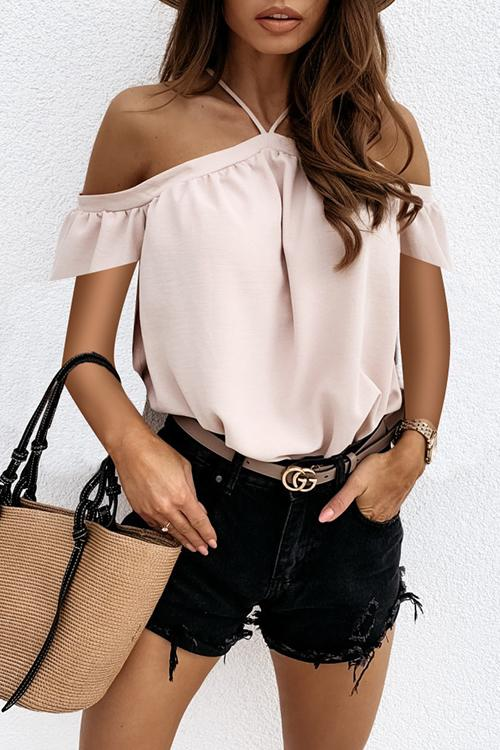 Allovely Sling Halter Strapless Chiffon Shirt