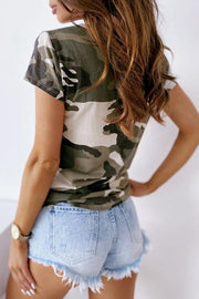 Allovely V-Neck Camouflage Button T-Shirt