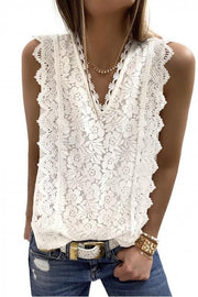 Allovely Solid Lace V-Neck Sleeveless Casual Tank Tops