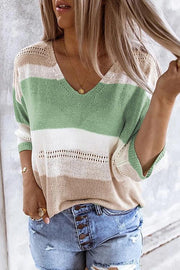 Allovely V-Neck Contrast Color Knitted Shirt